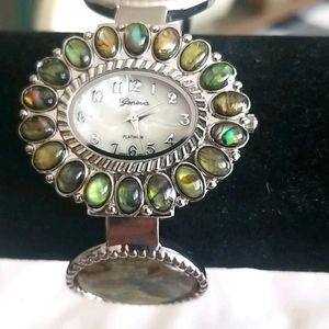 PEACOCK Green Stone and Silver Ladies Cuff Watch